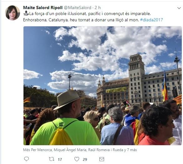 Maite Salord envió este mensaje desde Plaça Catalunya en Barcelona por las redes sociales.