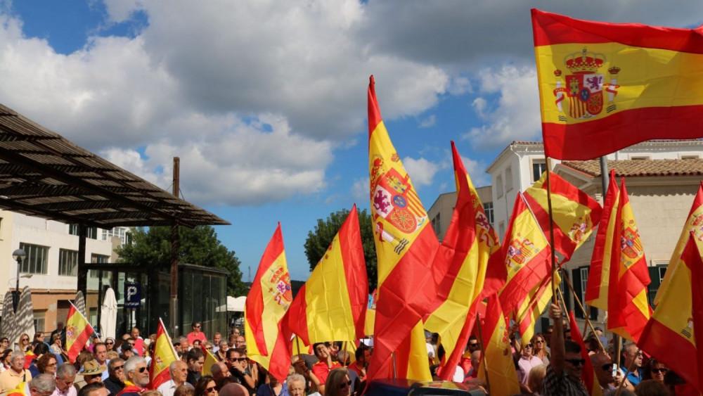 Imagen de archivo de una concentración de Som Menorca Somos España en Maó
