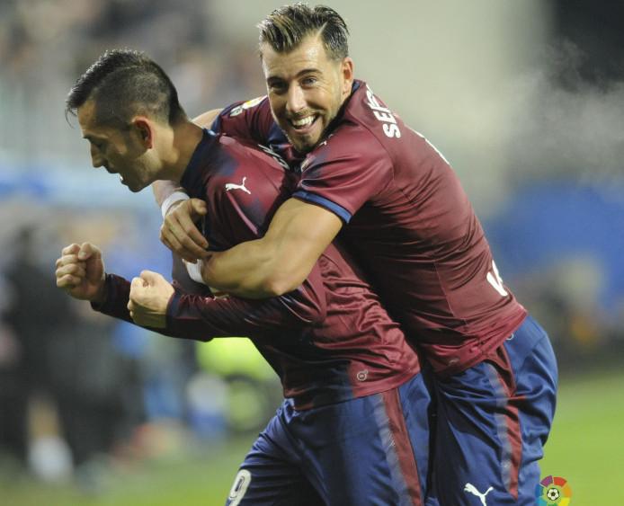 Enrich y Charles celebran un gol (Fotos: laliga.es)
