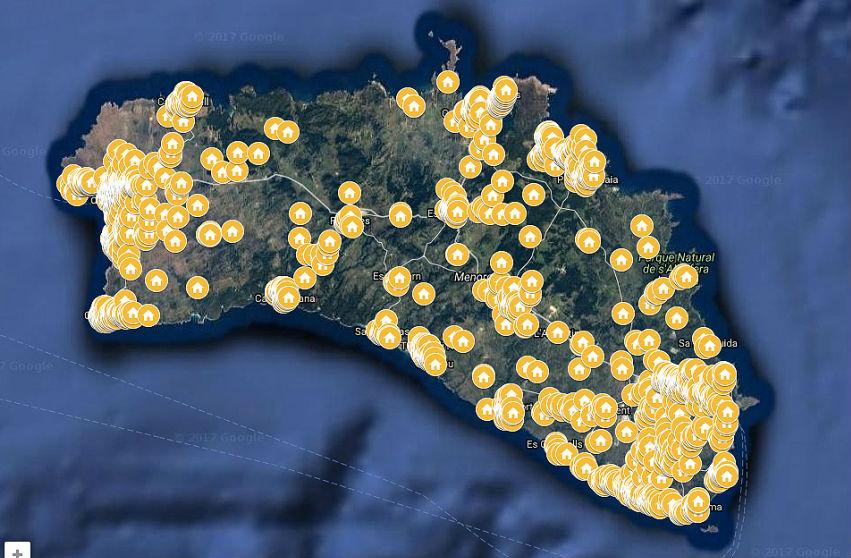 Mapa del alquiler turístico  en Menorca