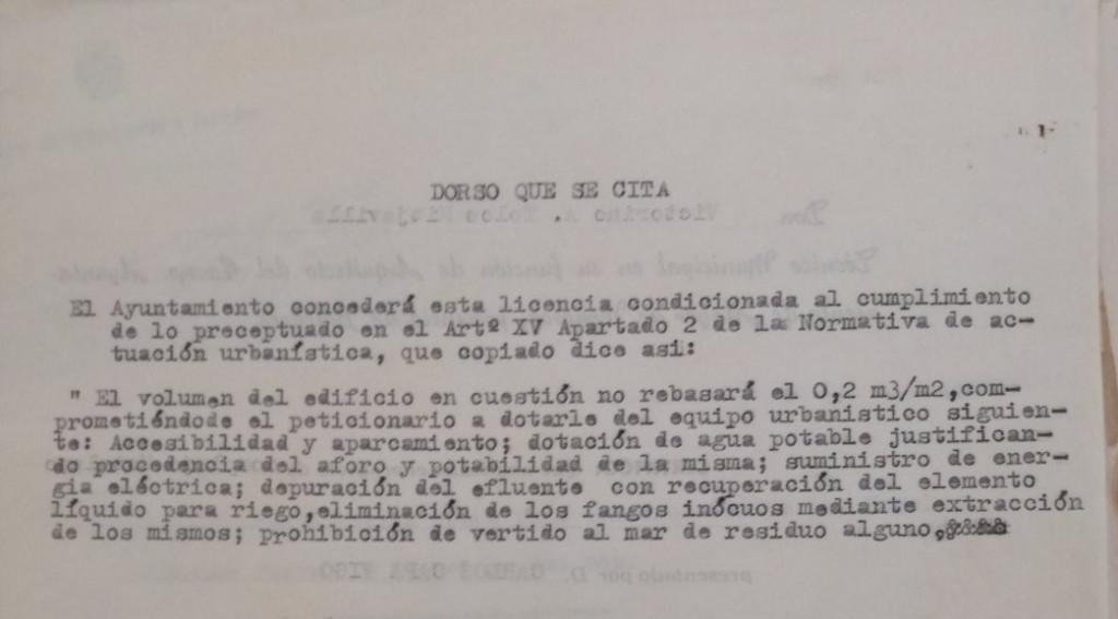 El contrato inicial de 1970 deja muy claras las condiciones de edificación.