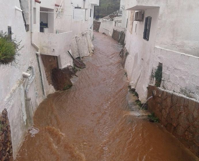Imagen del torrente de Mercadal tras las lluvias de ayer. Foto: @meteomercadal