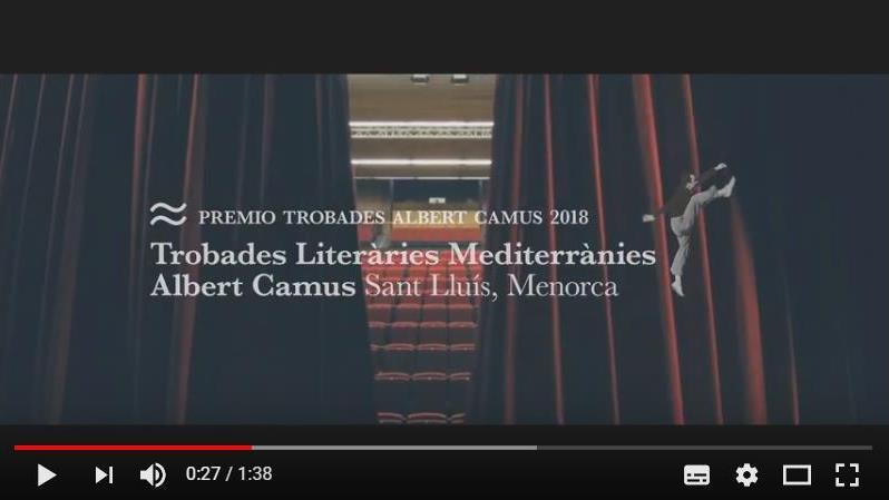 Captura del vídeo promocional del Premio Trobades Albert Camus.