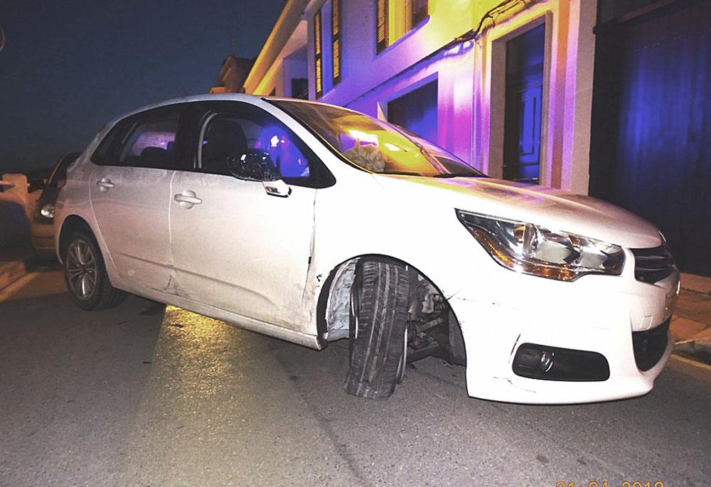 El incidente ha ocurrido esta madrugada en la calle Sa Muradeta de Ciutadella. Foto: Policía Local