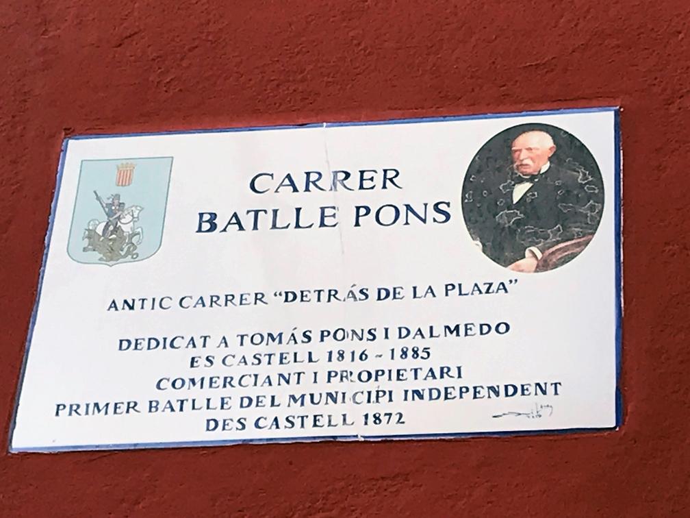 Las nuevas placas de Es Castell tendrán información adicional, en la imagen la dedicada al Batlle Pons.