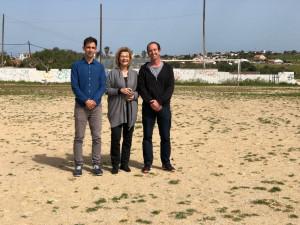Rafel Quintana, Coia Sugrañes y Roger Ferrer, durante la visita.