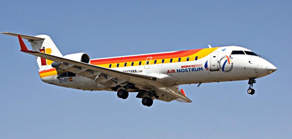 Avión de Air Nostrum en pleno vuelo.