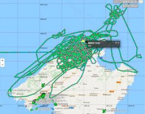 Mapa de rastreo en busca de la avioneta.