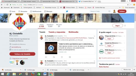 En esta captura de pantalla se puede verla cuenta oficial del ayuntamiento con el polémico mensaje ya borrado.