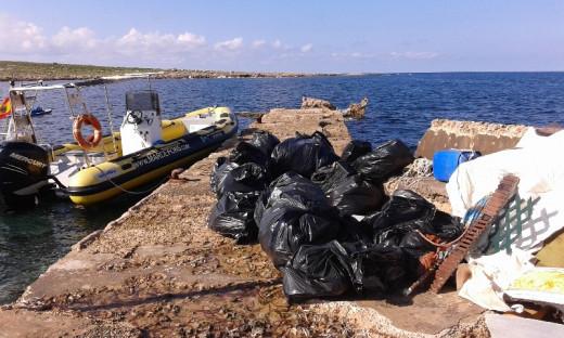 Imagen de una campaña de recogida de residuos en la Illa de l'Aire