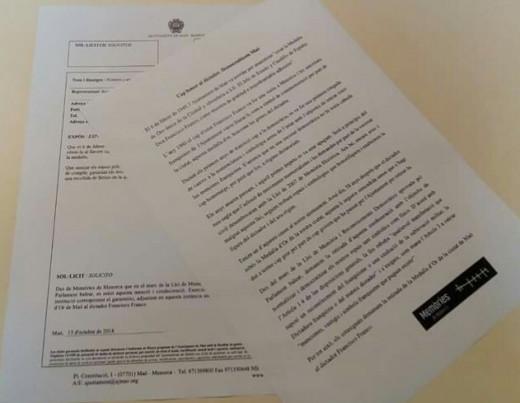 Imagen de los documentos registrados oficialmente en el ayuntamiento de Maó