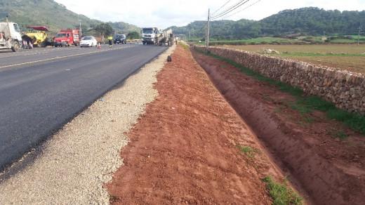 Obras en la carretera de Ferreries a Ciutadella