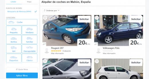 Captura de pantalla de la página web con ofertas en Maó.
