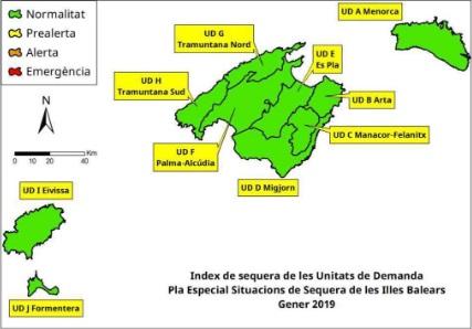 Índice de sequía en Baleares. Enero 2019