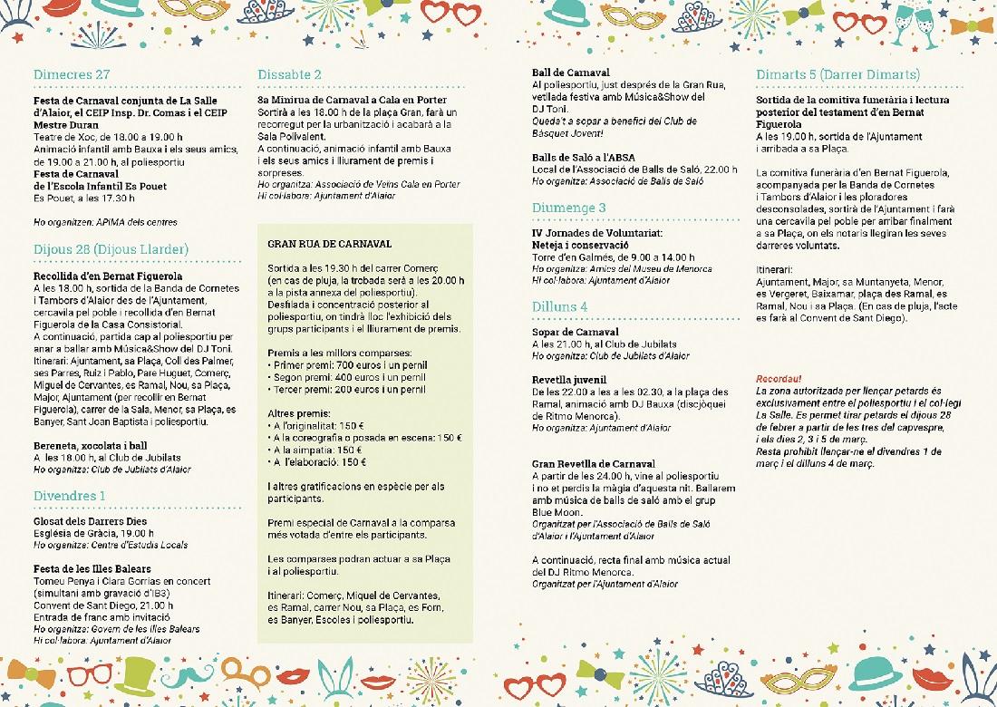 Programa de las actividades de Carnaval en Alaior 2019