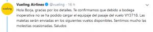 Mensaje de Vueling en Twitter.