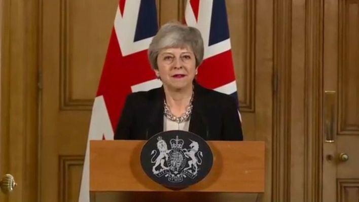 Theresa May, durante un discurso.