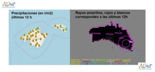Mapa de precipitaciones y rayos de la Aemet.