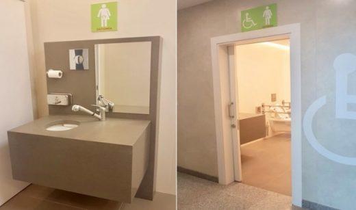 Imagen de los nuevos aseos del aeropuerto para personas ostomizadas