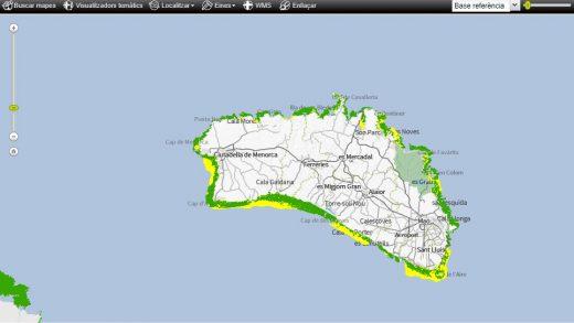 Mapa de distribución de la posidonia en Menorca (IDE Menorca)