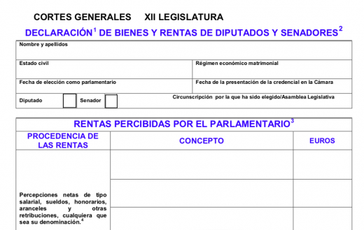 Formulario de declaración de bienes y rentas. FUENTE.- Parlamento