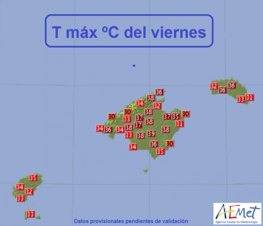 Mapa de temperaturas de la Aemet.