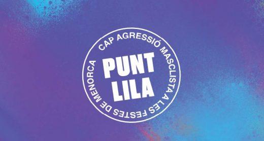 Distintivo del Punt Lila que verás en las fiestas de Menorca