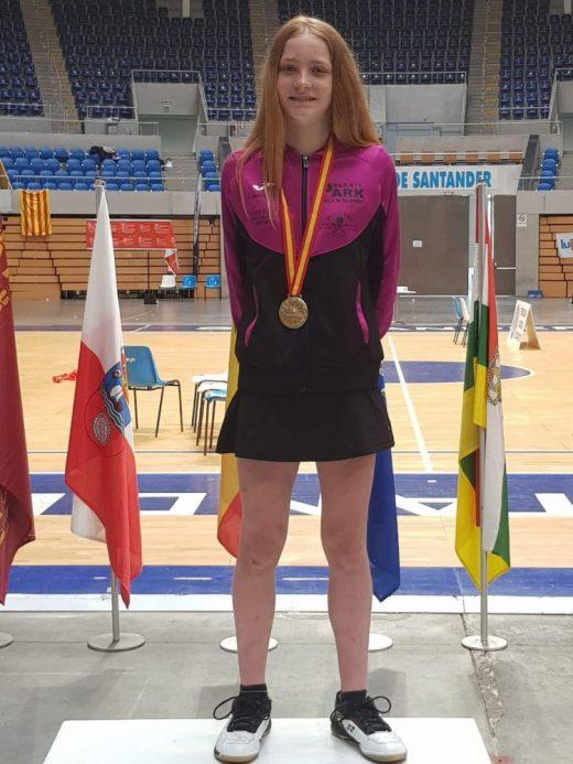 Laura Anglada, en el podio.