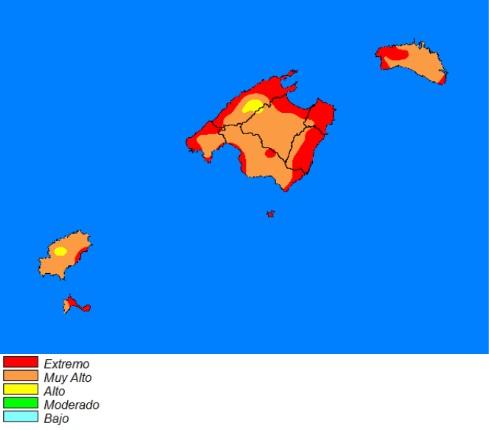 Mapa de previsión de la Aemet