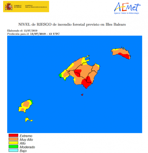 Mapa de riesgo de incendios.