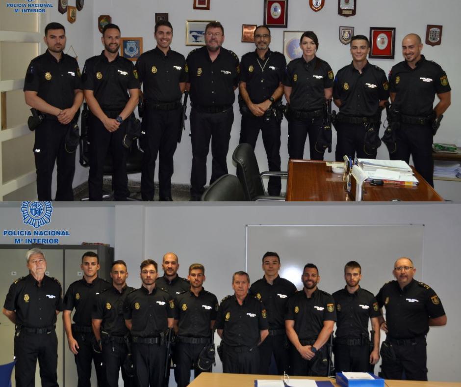 Nuevos Policías Nacionales en Maó (arriba) y Ciutadella