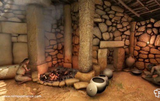 Recreación del interior de una casa talayótica.
