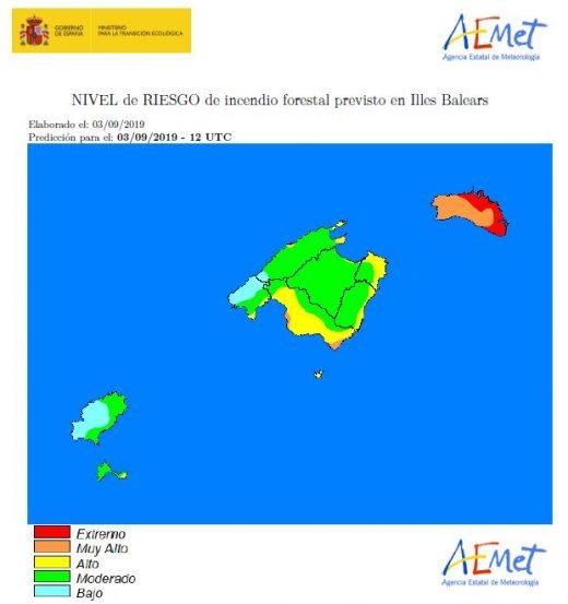 Mapa de riesgo de incendio de la Aemet.