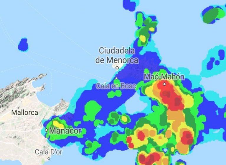 Mapa de las tormentas (Fotos: @controladores)