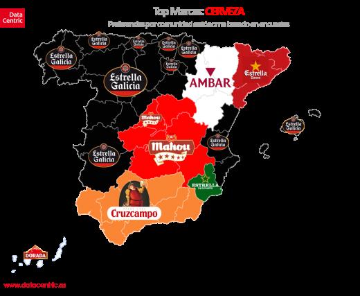 Mapa de las marcas de cervezas preferidas (Fuente: Datacentric)