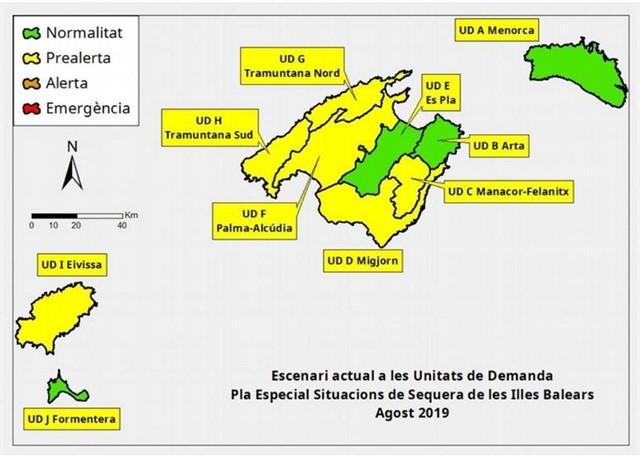 Mapa de las reservas hídricas de Balears.
