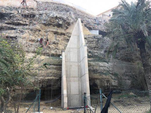 Imagen actual de las obras del ascensor en el Parc Rochina de Maó