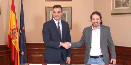 Pedro Sánchez y Pablo Iglesias, tras firmar el preacuerdo (Foto: mallorcadiario.com)