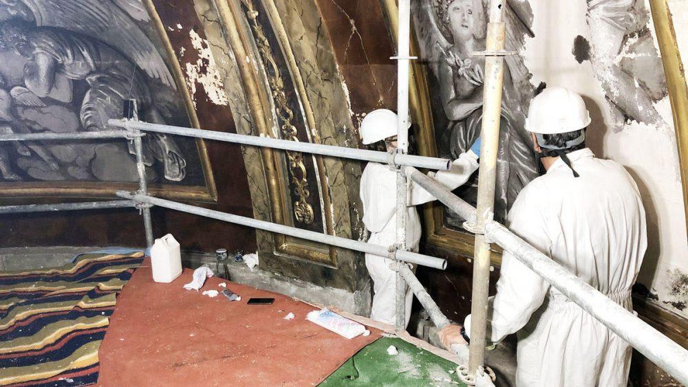 restauración cupula iglesia santa maria