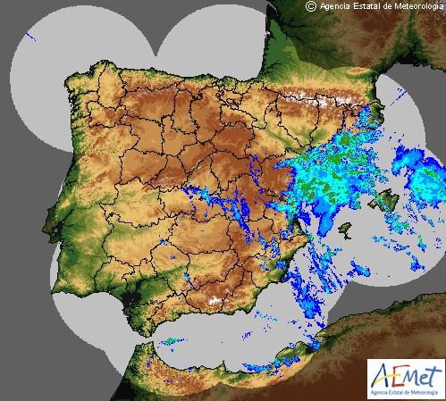 Imagen del radar de la Aemet a las 9.30 h de este miércoles