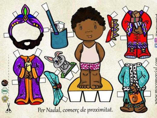 Los comercios del centro de Maó regalan muñecos recortables esta Navidad