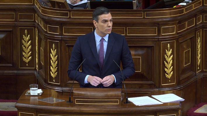 Pedro Sánchez, durante su intervención.