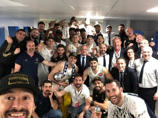 Selfie de Llull en el vestuario tras ganar la Copa.