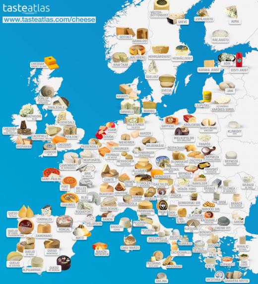 Mapa de los quesos europeos.
