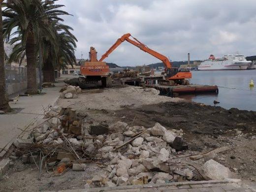 Avanzan las obras en el muelle de cruceros del puerto de Maó