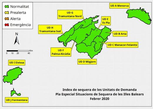 Índices de sequía de Baleares en febrero 2020