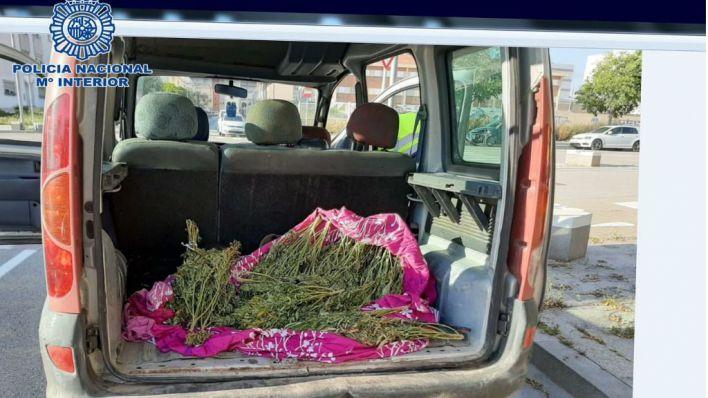 La marihuana, en el maletero del vehículo (Foto: Policía Nacional)