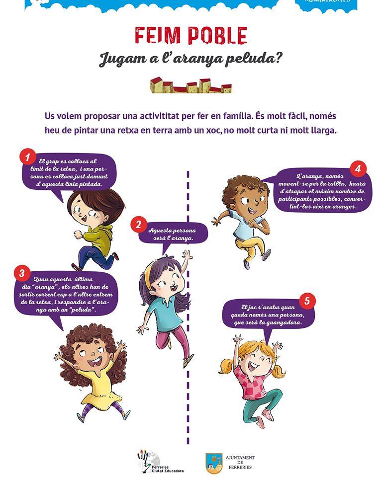 Ideas para compartir juegos con la familia. Cartel del Ayuntamiento de Ferreries