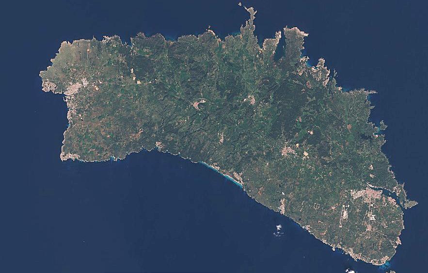 Imagen aérea de la Isla captada por el satélite.