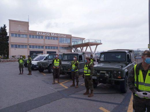 Miembros del Ejército, en la Estación Marítima (Foto: Ejército Baleares)